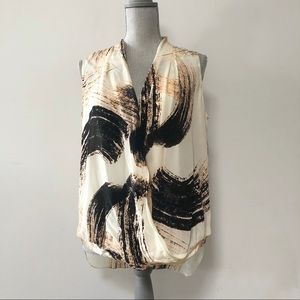 St. Martins sleeveless top abstract feather print